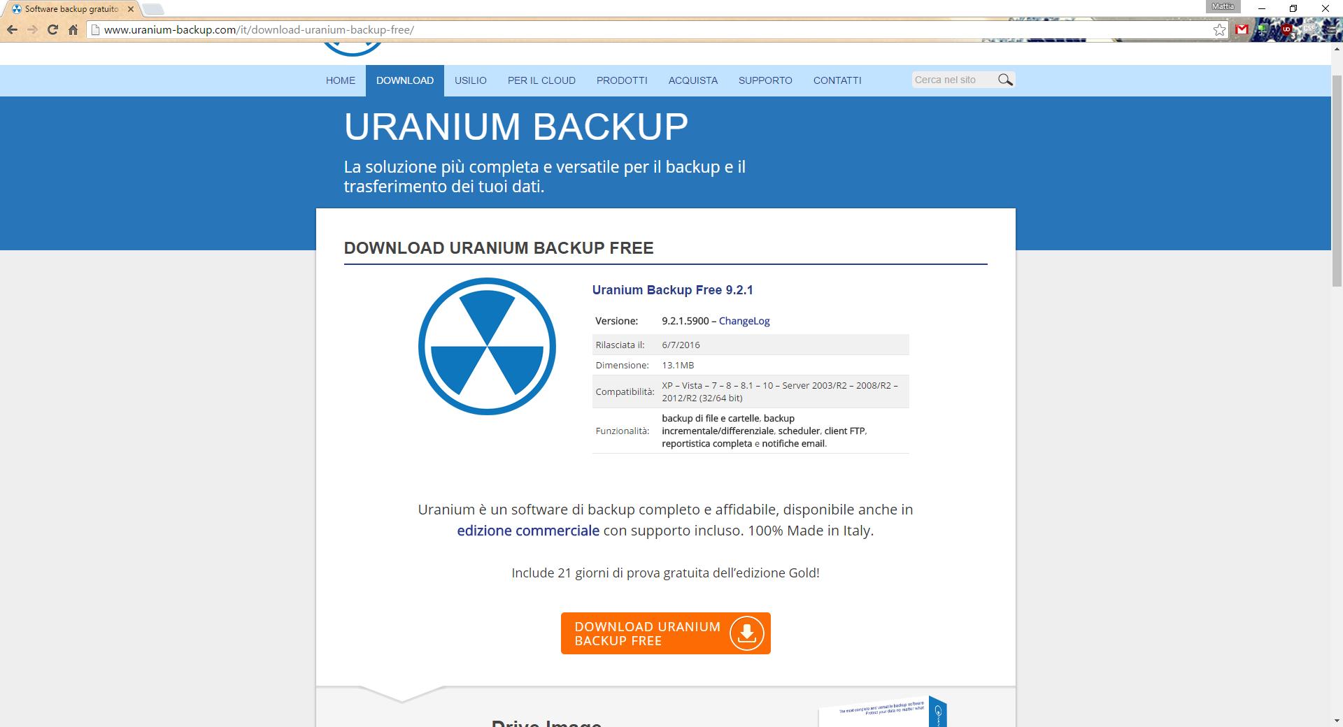 Pagina di download di Uranium Backup